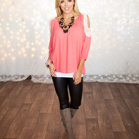 Ruched Open Shoulder Lace Top Coral