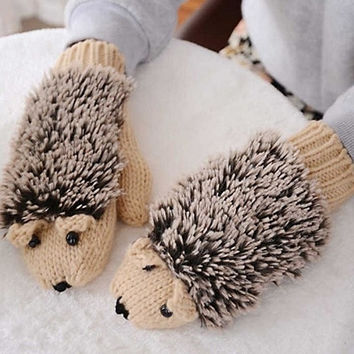 Cool Hedgehog Gloves Mittens Winter Female Knitted Gloves Gift