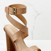 Making My Way Nude Ankle Strap Heels