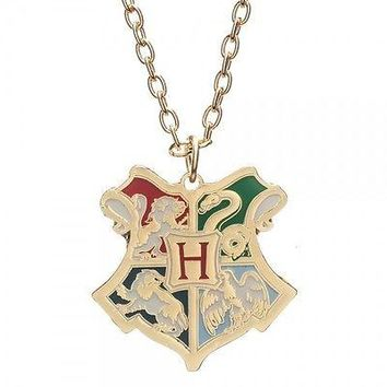 Harry Potter Deathly Hallows Hogwarts CREST Metal Neck Chain Pendant Necklace
