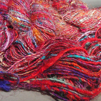 multicolored recycled silk yarn all natural 110 by threefatesfiber