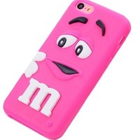 LliVEER Hot Pink iphone 5C Cute 3D Cartoon Milk Chocolate Bean M&M Figer Bean Soft Silicone Back Case For Apple iphone 5C