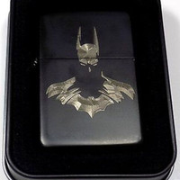 Batman Arkham Black Gift Engraved Chrome Cigarette Lighter Biker Gift LEN-0058