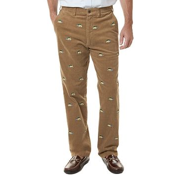 Beachcomber Corduroy Pants in Khaki with Embroidered Woody and Christmas Trees by Castaway Clothing - FINAL SALE
