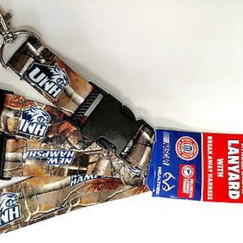 New Hampshire Wildcats CAMO RR Deluxe 2-sided Lanyard Keychain University of
