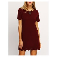 Burgundy Red Short Sleeve Scallops Shift Dress