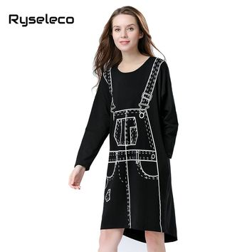 Autumn Long Bat Sleeve Dress Women Clothing Novelty 3D Pattern Print Kawaii Punk Loose Knee Length Midi Straight Winter Vestidos
