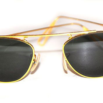 1980's ERA RAY BAN W2003 CLASSIC METALS G15 GOLD PLATED WIRE AVIATORs SUNGLASSES
