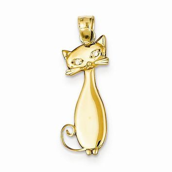 14k Gold Diamond Cat Pendant