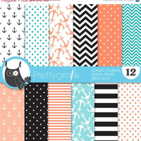 60% OFF SALE classic coastal digital paper pack, commercial use, scrapbook papers, anchors, nauticalsc - PS628