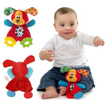 Cute Cartoon Dog Baby Rattles Teether Toy Infant Comfort Towel with Sound Paper Soft Teether Toy Baby Playmate Calm Doll