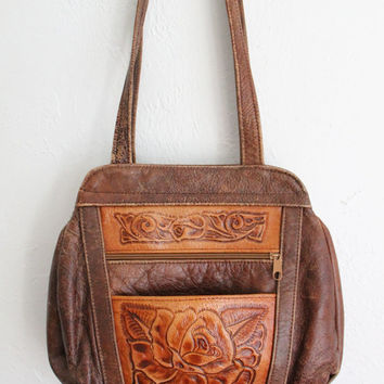 Vintage 70s Brown Distressed Leather Bohemian Purse with Embossed Rose
