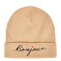Bonjour Embroidered Beanie