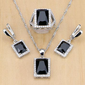 Women 925 Sterling Silver Jewelry Black CZ White Birthstones Jewelry Set Wedding Earrings/Pendant/Necklace/Ring