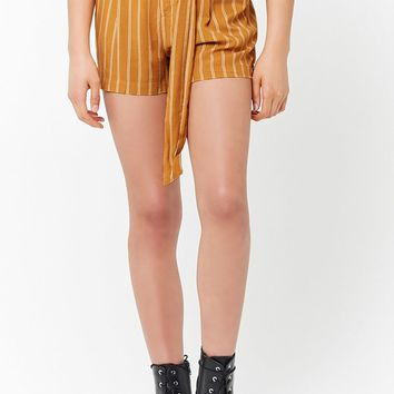 Striped Self-Tie Shorts