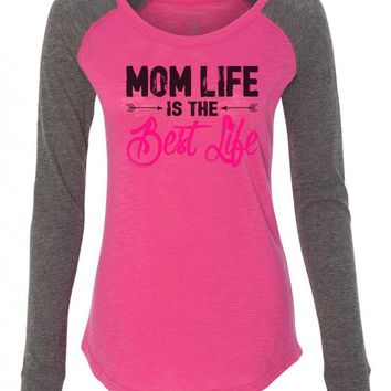 "Womens ""Mom Life Is The Best Life"" Long Sleeve Elbow Patch Contrast Shirt"