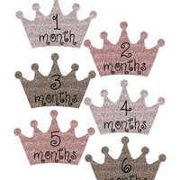Baby Month Stickers, Monthly Onesuit Stickers, Monthly Baby Sticker, Baby Shower Gifts, Baby Month Sticker Girl, Princess Crown, Glitter, G44