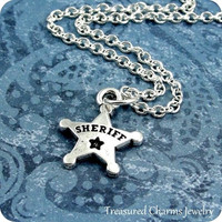 Sheriff Badge Necklace, Silver Sheriff Star Badge Charm on a Silver Cable Chain