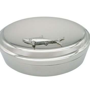 Mako Shark Pendant Oval Trinket Jewelry Box.