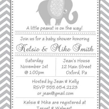 10 Grey Elephant Baby Shower Invitations