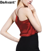 BeAvant  summer style sleeveless silk white women tank top Sexy deep v neck black camisole tank Casual party girls tops