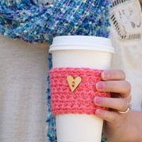 Coffee Cup Cozy / Coral Hearts Cozy / Wooden Heart Button on Coral