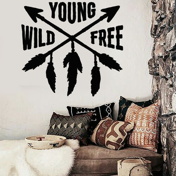 Vinyl Wall Decal Ethnic Decor Arrows Feathers Teen Room Quote Stickers Unique Gift (ig4433)