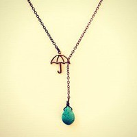 alapop — rainy day umbrella and turquoise raindrop necklace