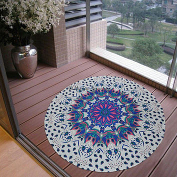 Mandala Round Tapestry Purple Wall Hanging Beach Throw Towel Yoga Mat Psychedelic Boho Decor, Plain, with pom pom or tassel