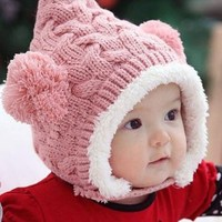 Susen 1pcs Lovely Kid Baby Dual Balls Girl Boys Knitting Wool Keep Warm Beanie Cap Hat (Pink)