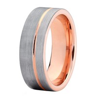 Mens Wedding Band Rose Gold Wedding Band Ring 8mm Tungsten Carbide 18k Tungsten Ring Male Wedding Ring Man Engagement Anniversary Promise Brushed Silver Ring