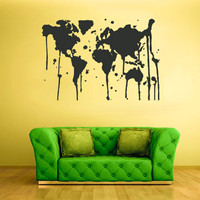 rvz1733 Wall Vinyl Sticker Bedroom Decal World Map Country Words Quotes Paint