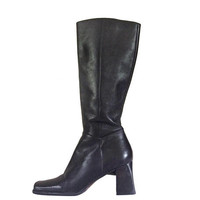 Tall Black Boot Nine West Boot Chunky Heel Boot High Heel Boot Square Toe Boot Women Black Boot 90s Black Boot Black Leather Boot Ladies