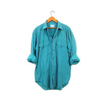 Retro Striped Boyfriend Shirt Button Up Turquoise Green Slouchy Hipster Shirt Long Sleeve Cali Top Tomboy Preppy Vintage Men's Medium