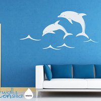 Dolphins Wall Decal Wall Sticker Large Whole by WallConsilia