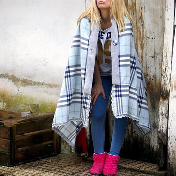 Checkered Poncho,Blue,Gray,Fleece poncho,womens poncho,wrap,laced,Polar Fleece,Wellsoft,Buttoned,Handmade lace,Chic,Winter,Cozy,Home