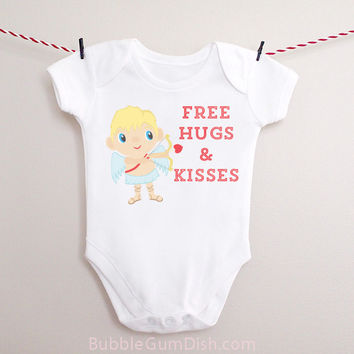 Cupid Free Hugs & Kisses Valentine's Day Shirt Baby Outfit Happy Valentine's Day One Piece Bodysuit Romper Creeper Infant Toddler