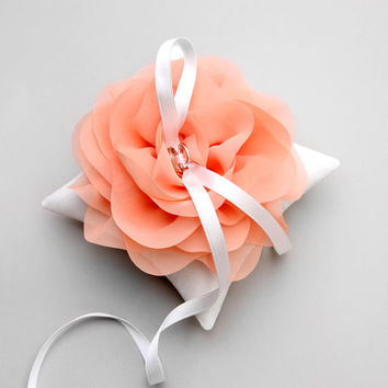 Wedding ring pillow, bridal ring bearer, coral ring pillow, pink wedding, bridal gifts, flower girl - Aria