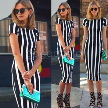Women Vintage Short Sleeve Bodycon Casual Party Evening Cocktail Mini Dress