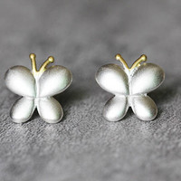 Cute Butterfly Earrings, Sterling Silver Butterfly Stud Earrings, insect earrings, Cute studs earrings, Butterfly Jewelry, gifts for her