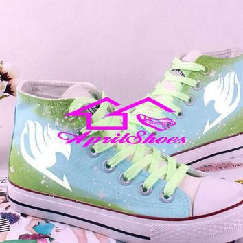 Fairy Tail Symbol on White Canvas Shoes High Tops with Galaxy Background, Custom Shoes