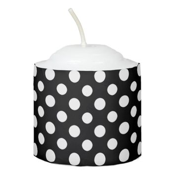 Black and White Polka Dot Pattern Votive Candle