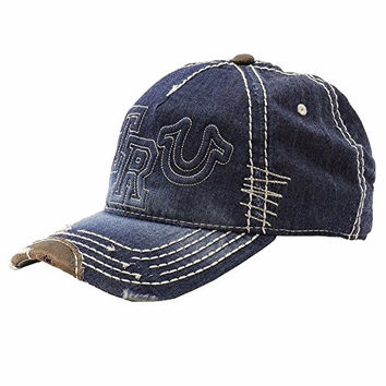 True Religion Tru Logo Blue Indigo Adjustable Baseball Hat (One Size Fits Most)