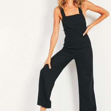 Linen Nights Jumpsuit - Black