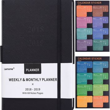 """Planner 2018 - 2019 with Pen Holder -Academic Weekly, Monthly and Yearly Planner. Thick Paper to Achieve Your Goals & Improve Productivity, 5.75"""" x 8.25"""", Back Pocket with 68 Notes Pages - lemome"""