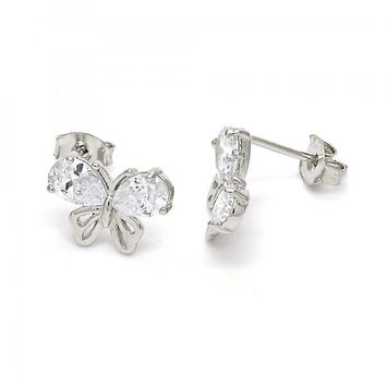 Sterling Silver 02.285.0055 Stud Earring, Butterfly Design, with White Cubic Zirconia, Polished Finish,