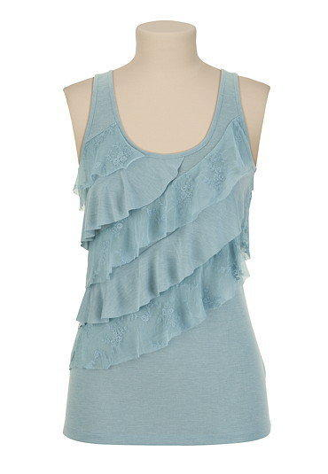 Heathered Lace Tiered Tank