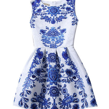 Sleeveless Skater Dress with Embroidery Detail