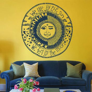 ik2915 Wall Decal Sticker Crescent Sun And Moon living room bedroom