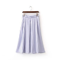 Summer High Waist Slim Stripes Pleated Skirt [6332332932]